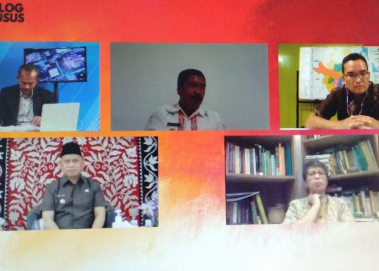 Wakil Bupati Muba, Beni Hernedi, saat menjadi narasumber pada Dialog Khusus Restorasi Gambut di Mata Pemerintah Daerah, yang digelar TV Tempo, Jumat (24/7). (fornews.co/repro)