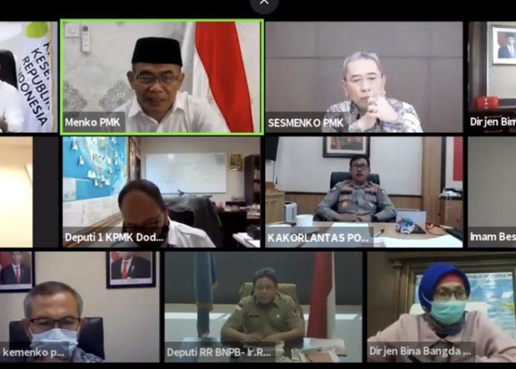 Rapat Koordinasipersiapan penyelenggaraan Iduladha yang digelar melalui video conference, Kamis (9/7). (fornews.co/Humas Kemenko PMK)