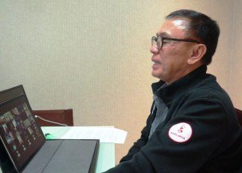 Ketua Umum PSSI Mochamad Iriawan saat melakukan pertemuan secara virtual dengan perwakilan kelompok suporter, Jumat (12/3/2021). (fornews.co/pssi)