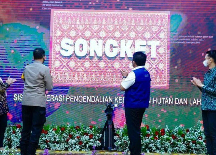 Peluncuran aplikasi songket untuk cegah dini karhutla di Griya Agung Palembang, 7 Mei 2021. (istimewa/Humas Pemprov Sumsel)