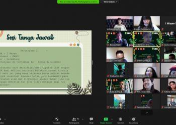 Tangkapan layar kegiatan webinar HAKI yang dihadiri para anak muda, Selasa (11/5). (istimewa/HAKI)