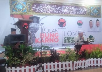 Peserta lomba MTQ Bulan Bung Karno yang digagas PDI Perjuangan Sumsel, saat melantunkan ayat-ayat suci Alquran, Jumat (25/6/2021). (fornews.co/ist)