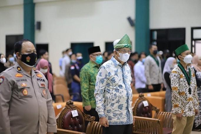 Wakil Gubernur Sumsel, Mawardi Yahya, saat menghadiri Musda XXVI Badan Koordinasi HMI Sumatera Bagian Selatan, di Gedung Asrama Haji Palembang, Senin (27/9/2021). (fornews.co/humas pemprov sumsel)